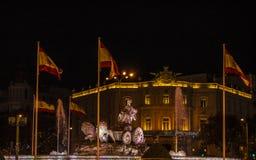 Statua della biga del leone alla plaza di Ciebeles Fotografia Stock