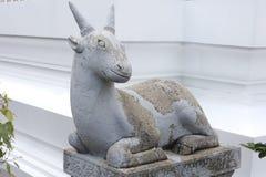 Statua della capra, restano a Wat Arun Rajwararam Fotografia Stock