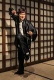 Statua della cera della stella Jackie chan di film di azione, su esposizione ai tussauds di signora a Hong Kong fotografia stock libera da diritti