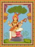 Statua della dea indiana Saraswati con il fondo floreale d'annata della struttura immagini stock libere da diritti