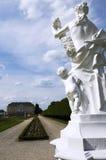 Statua della donna con il castello di Augustusburg nel ¼ hl/Germany di Brà immagini stock libere da diritti