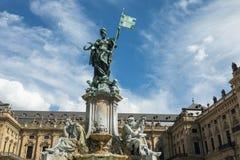 Statua della Franconia davanti al palazzo di Wurzburg Fotografia Stock