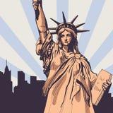 Statua della libertà con il vettore di paesaggio urbano Fotografia Stock