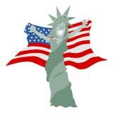 Statua della libertà del fumetto che tiene la bandiera americana Immagini Stock