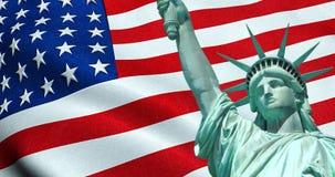 Statua della libertà dell'americano U.S.A. con la bandiera d'ondeggiamento nel fondo, Stati Uniti d'America, stelle e strisce Fotografia Stock