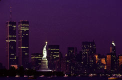Statua della libertà e WTC Fotografia Stock