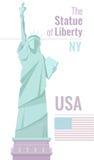 Statua della libertà isolata su fondo bianco Illustrazione piana di vettore Immagini Stock Libere da Diritti