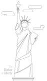 Statua della libertà isolata su fondo bianco Linea illustrazione di vettore di arte Fotografie Stock Libere da Diritti