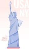 Statua della libertà isolata su fondo Illustrazione piana di vettore Fotografia Stock Libera da Diritti