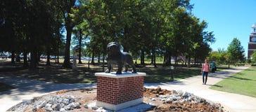 Statua della mascotte del bulldog all'università del sindacato a Jackson, Tennessee fotografia stock