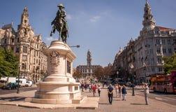 Statua della plaza di Oporto Fotografia Stock Libera da Diritti