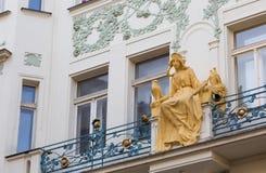 Statua della principessa Libuse sulla via della st Charles, Praga, Repubblica ceca Immagini Stock