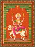 Statua della scultura indiana una di Shailaputri della dea dell'avatar da Navadurga con il fondo floreale d'annata della struttur fotografie stock