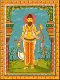 Statua della scultura una di Lord Parashurama dell'indiano dell'avatar dal Dashavatara di Vishnu con la struttura floreale d'anna fotografie stock libere da diritti