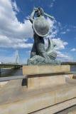 Statua della sirena, simbolo di Varsavia Fotografie Stock Libere da Diritti