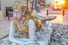 Statua della sirena in spiaggia di Hollywood, Florida Fotografia Stock Libera da Diritti