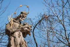 Statua della st Nepomuk con cielo blu Fotografie Stock