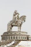 Statua della statua di Genghis Khan con il cavallo Fotografia Stock Libera da Diritti