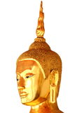 Statua della testa di Buddha isolata su fondo bianco Fotografia Stock