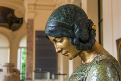 Statua di Art Nouveau del ritratto della donna illustrazione di stock