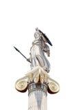 Statua di Atena la protezione isolata Fotografie Stock