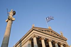 Statua di Athena e dell'accademia di Atene Fotografie Stock Libere da Diritti