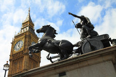 Statua di Boadicea e Big Ben, Londra Immagine Stock Libera da Diritti