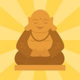 Statua di Budda dall'illustrazione spirituale di vettore della scultura di meditazione della cultura di budha di armonia della Ta illustrazione di stock