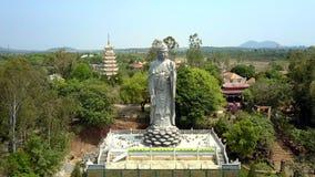 Statua di Buddha del gigante di vista aerea fra il parco tropicale archivi video