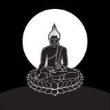 Statua di Buddha, disegno a tratteggio Fotografia Stock