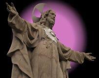 Statua di Christ con il aureole reale e falso immagini stock
