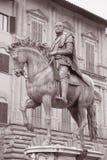 Statua di Cosimo I de Medici Equestrian da Giambologna, Firenze immagine stock