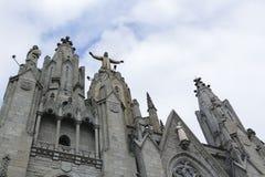 Statua di Cristo Tibidabo, Barcellona Immagini Stock Libere da Diritti