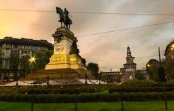 Statua di Garibaldi a Milano fotografia stock libera da diritti