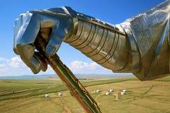 Statua di Genghis Khan con la frusta dorata Immagine Stock Libera da Diritti