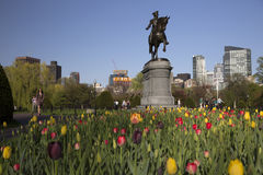 Statua di George Washington nel giardino pubblico di Boston Immagini Stock Libere da Diritti