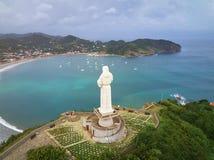 Statua di Gesù Cristo in San Juan Del Sur immagine stock libera da diritti