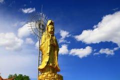 Statua di Guanyin dell'oro del tempio di Yuantong Fotografia Stock