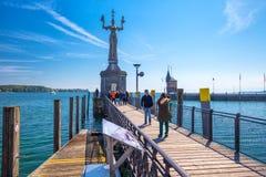 Statua di Imperia in porto della città di Costanza in vista del lago di Costanza Fotografie Stock