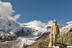 Statua di Kaiser Franz Josef I sul ghiacciaio di Grossglockner, Austria Fotografie Stock