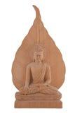 Statua di legno del Buddha con il foglio della BO Fotografie Stock Libere da Diritti