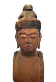 Statua di legno giapponese del Buddha isolata. Immagine Stock Libera da Diritti