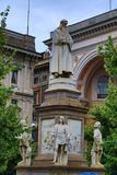 Statua di Leonardo da Vinci monument Milan Italy. Statue of Leonardo da Vinci beautiful monument at the small and charming square Piazza della Scala,Milan Italy royalty free stock photography