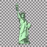 Statua di libertà & del tramonto di New York City royalty illustrazione gratis