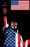 Statua di libertà, illustrazione con la bandierina Immagini Stock