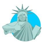 Statua di Liberty Winks i pollici aumentano il punto di riferimento America scultura royalty illustrazione gratis