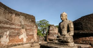 Statua di Lord Buddha a Polonnaruwa Vatadage Fotografia Stock