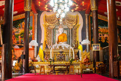 Statua di marmo di Buddha al tempio del wiwekaram di Wang, Sangklaburi Fotografia Stock Libera da Diritti