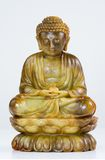 Statua di meditazione di Jade Buddha su bianco Fotografia Stock