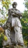 Statua di Mihai Eminescu al giardino botanico di Macea - il distretto di Arad, Romania fotografia stock libera da diritti